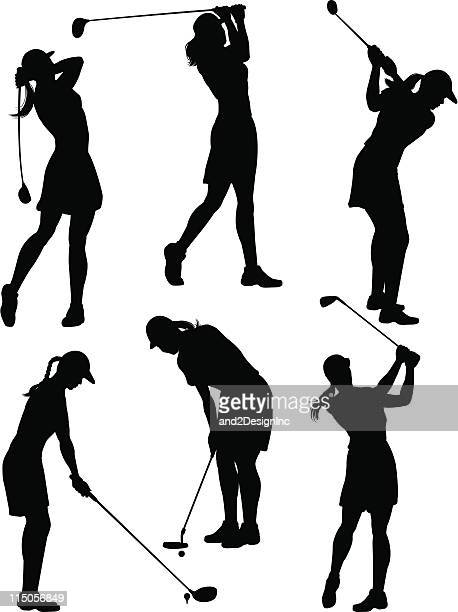women golfer silhouettes - golfer stock illustrations