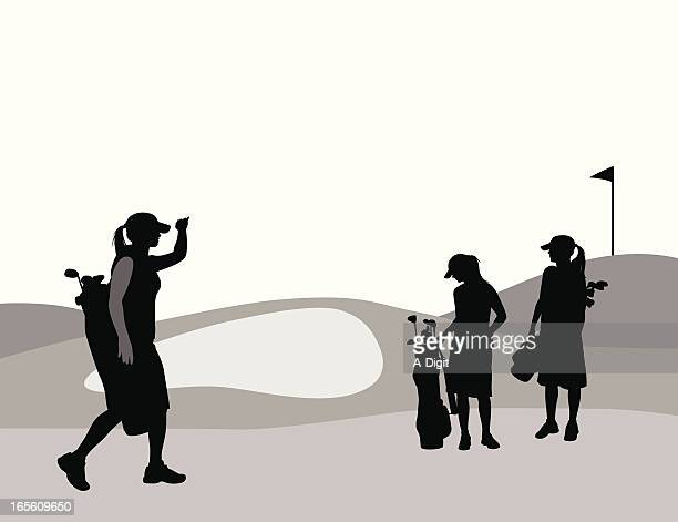 women golfing vector silhouette - sand trap stock illustrations, clip art, cartoons, & icons