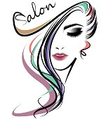 women hair style icon, logo women face on white background