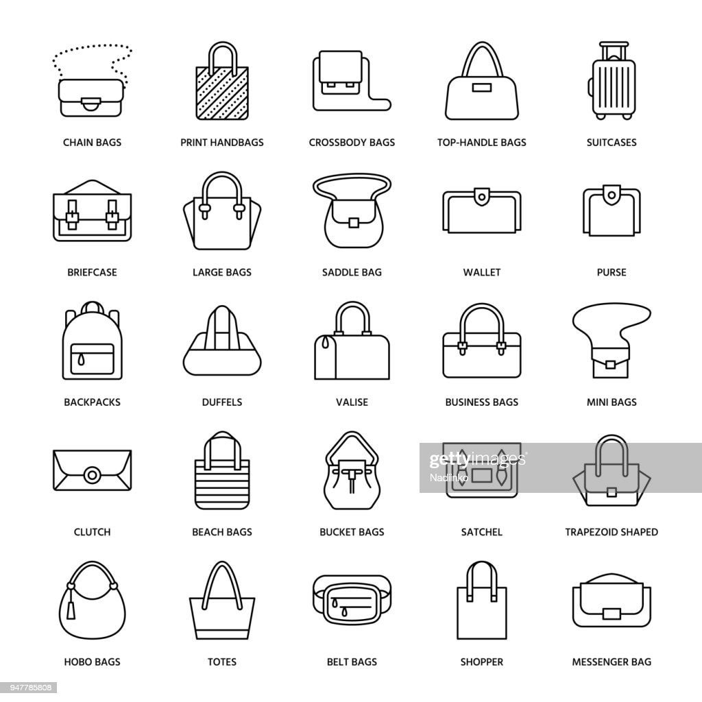 Women handbags flat line icons. Bags types - crossbody, backpacks, clutch, totes, hobo, leather briefcase, luggage. Trendy accessories thin linear signs for fashion store