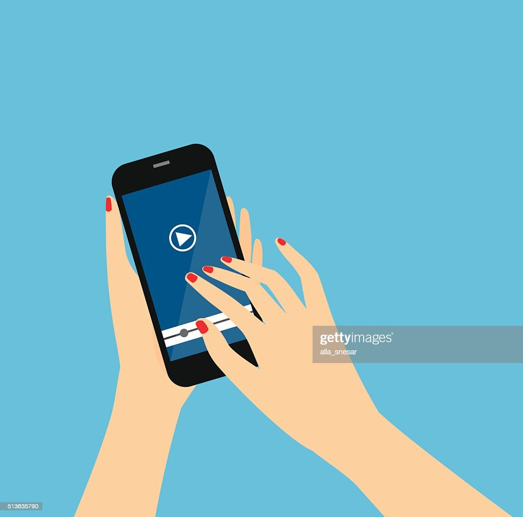 Women Hands holds smartphone.
