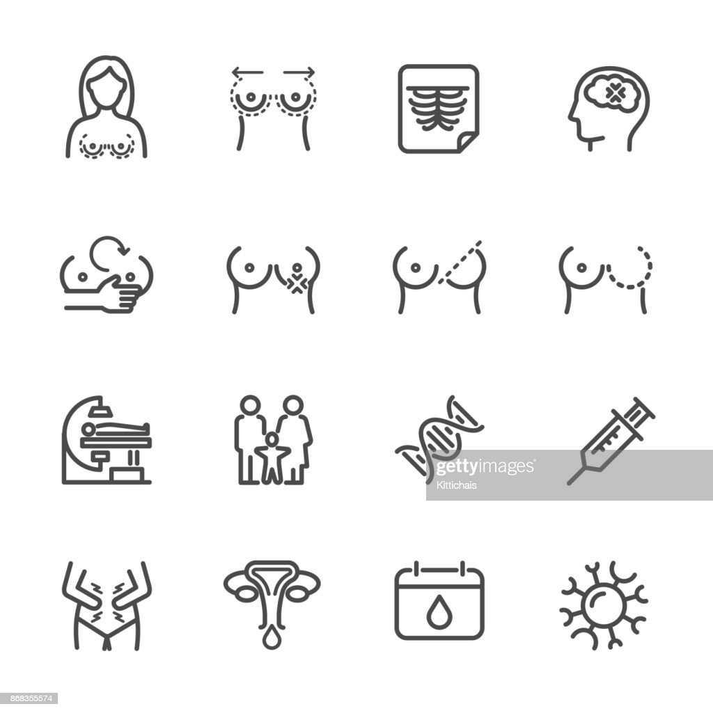 Women health, Breast Problems and Monthly menstrual. Vector line icon