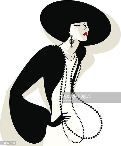 women in a black hat