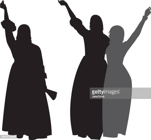 women in dresses with arms raised silhouettes - long dress stock illustrations