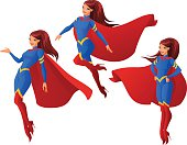 Women in superhero outfit in three different poses. Vector set.