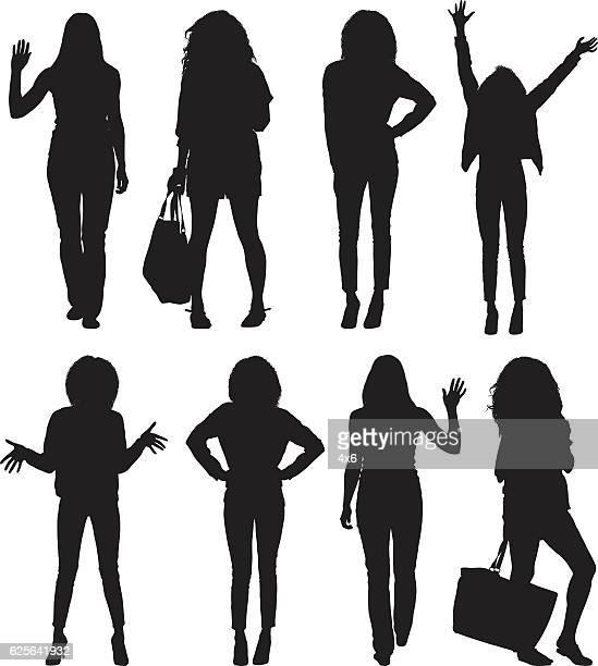 ilustrações de stock, clip art, desenhos animados e ícones de women in various action - de corpo inteiro