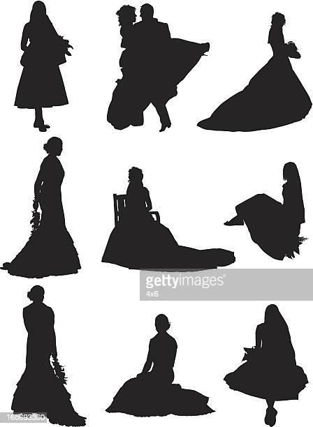 ilustraciones, imágenes clip art, dibujos animados e iconos de stock de mujeres en vestidos de boda - vestido de novia