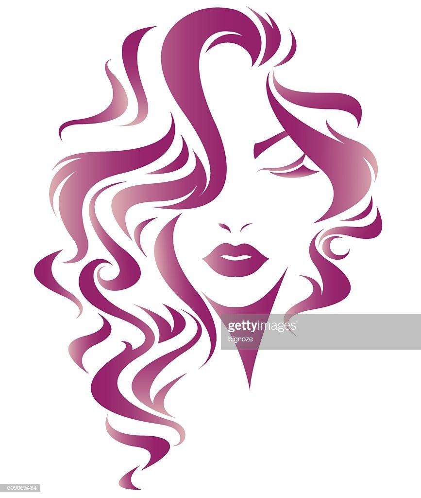 women long hair style icon, logo women face
