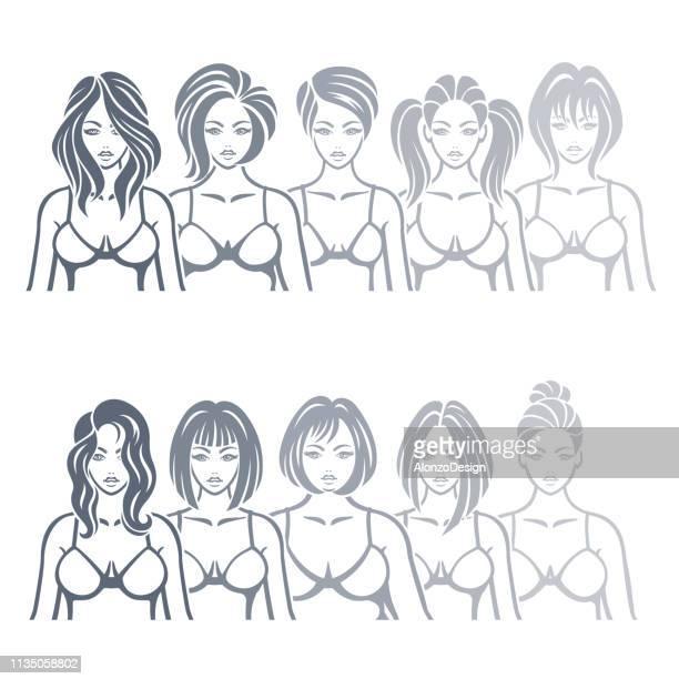 ilustraciones, imágenes clip art, dibujos animados e iconos de stock de modelos de mujeres.  tipos de cuerpos femeninos. - aumento de senos