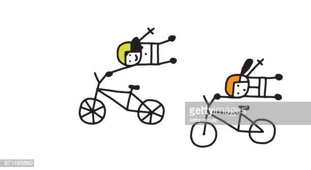 Women on bmx bicycles
