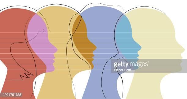 ilustraciones, imágenes clip art, dibujos animados e iconos de stock de perfiles de mujeres - persuasión