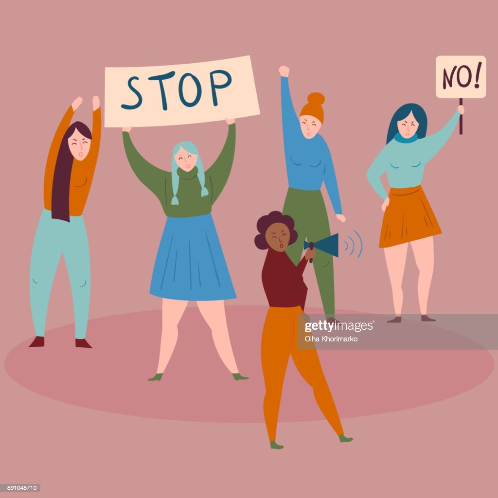 Women protest with stop and no signs.Demostrants