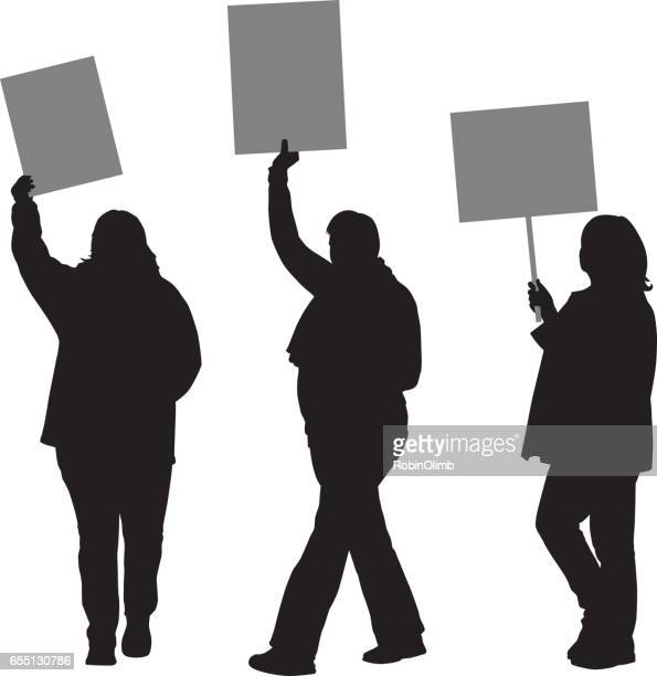 women protesting silhouettes - protestor stock illustrations, clip art, cartoons, & icons
