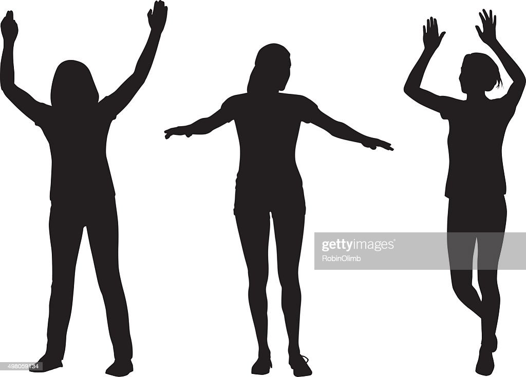Women Raising Arms Silhouettes