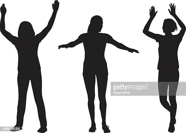 女性リード腕のシルエット