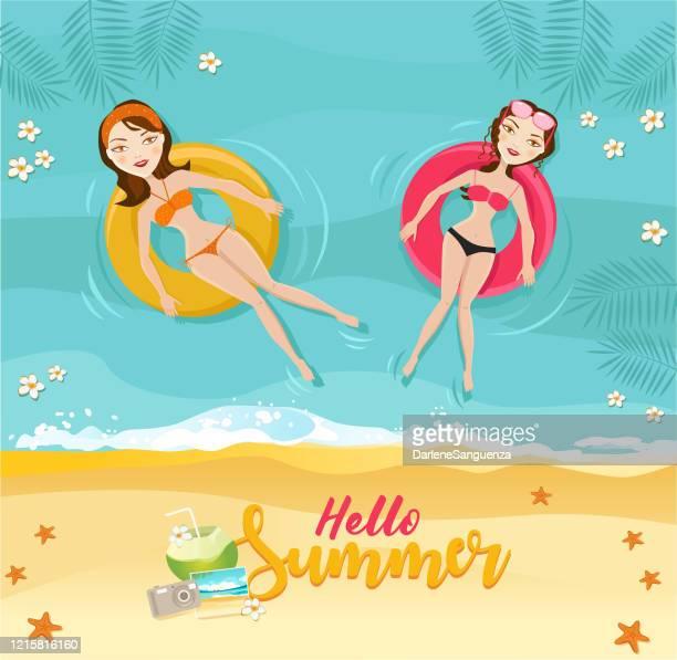 illustrations, cliparts, dessins animés et icônes de femmes se relaxant et nageant sur des gonflables. - bouée gonflable