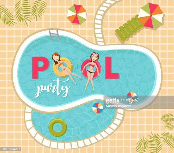 ilustraciones, imágenes clip art, dibujos animados e iconos de stock de mujeres relajarse y nadar en la piscina con inflables con texto de fiesta en la piscina. - pool party