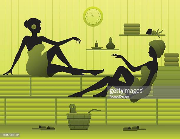 Women relaxing in sauna