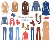 Women s clothes collection. Winter outfit. Vector illustration.