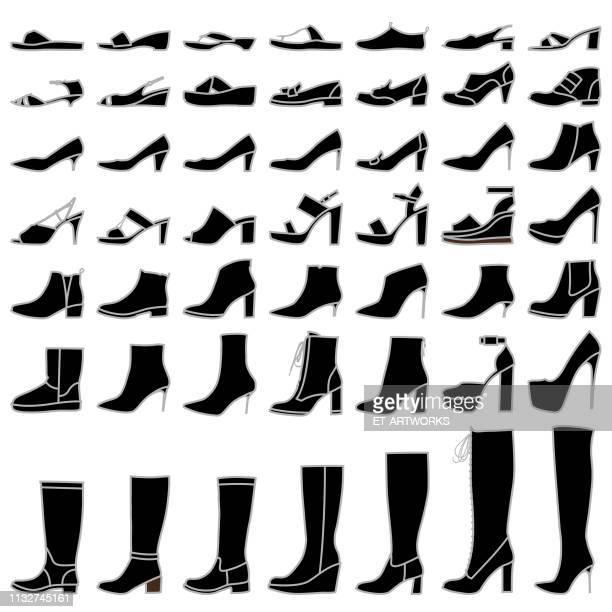 women shoes silhouett - black boot stock illustrations