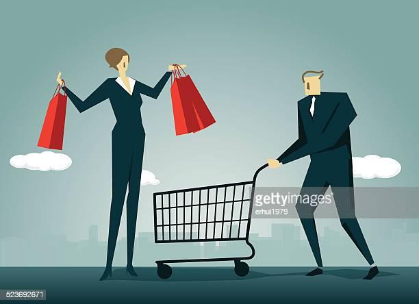 Las mujeres, cesta de compras, hembra, personas de negocios, carrito