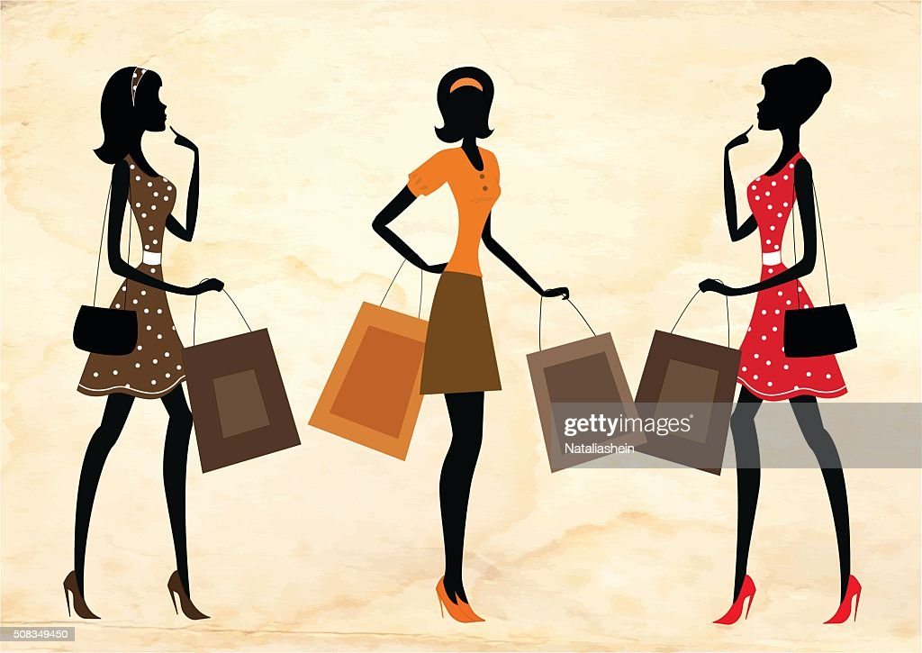 Women shopping, retro style.