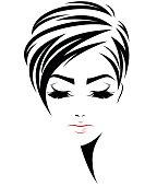 women short hair style icon, logo women face