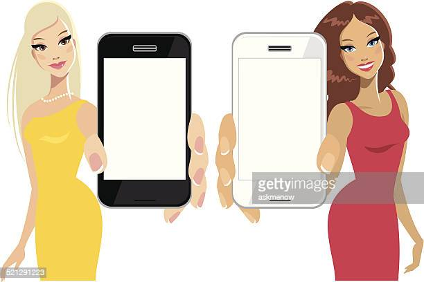 Women showing cellphone display