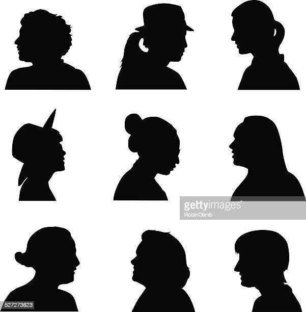 women silhouette profiles - side view stock illustrations