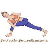 Women silhouette. Revolved Side Angle Yoga Pose. Parivrtta Parsvakonasana