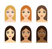 women skin and hair color variety