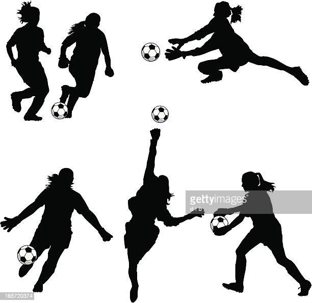 women soccer goalie silhouettes - making a save sports stock illustrations