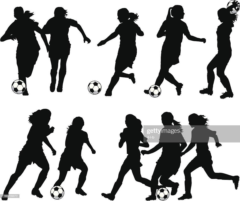 women soccer player silhouettes vector art