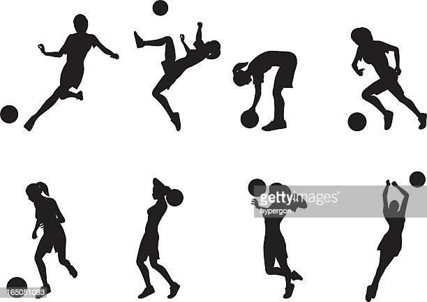 女性サッカーシルエット - ゴールを狙う点のイラスト素材/クリップアート素材/マンガ素材/アイコン素材