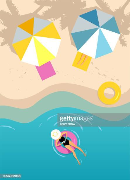 women swimming on the inflatable ring - beach stock illustrations