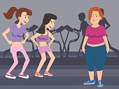 women taunting fat woman at gym vector cartoon