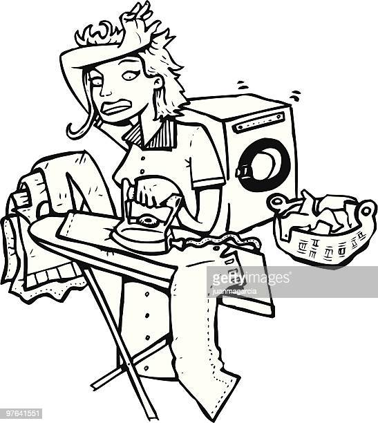 women tired of ironing and work - washing dishes stock illustrations, clip art, cartoons, & icons