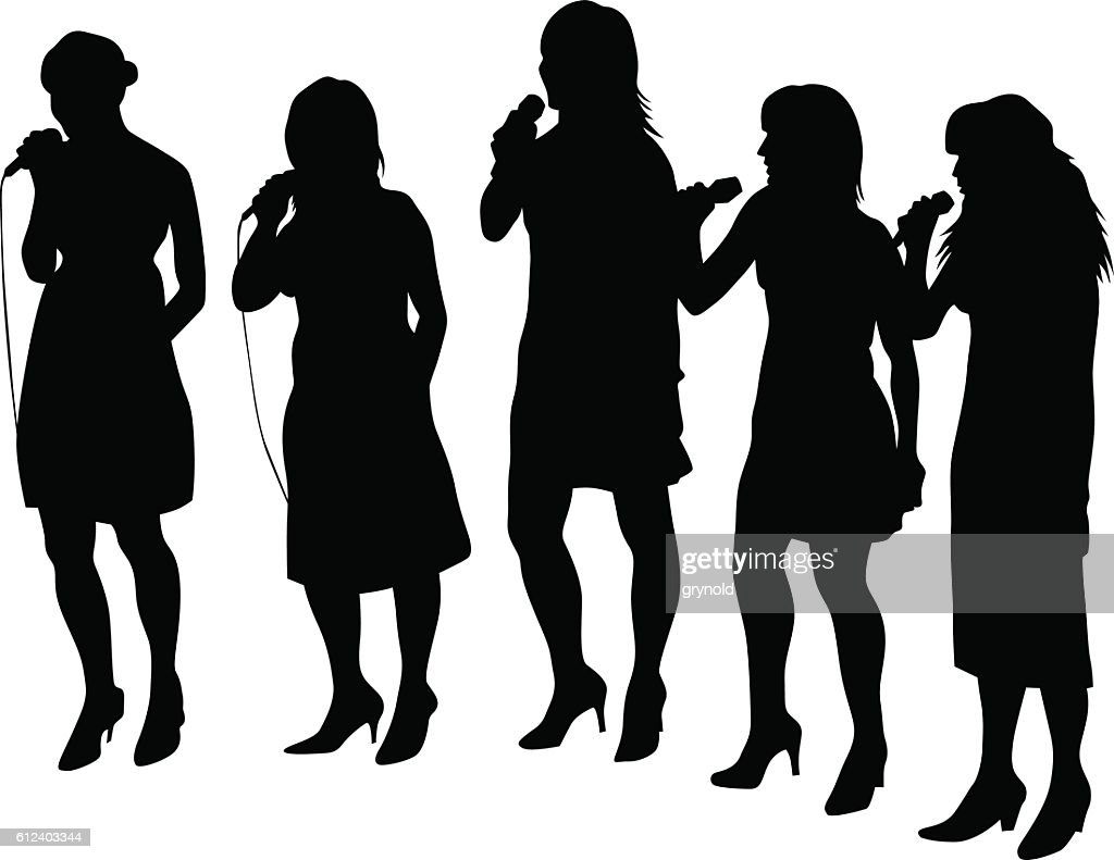 Women vocal on white background