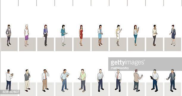 women vs men bar graph illustration - mathisworks stock illustrations