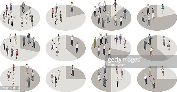 women vs men pie charts illustration - mathisworks stock illustrations