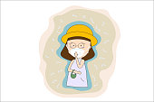 women wear masks N95 to prevent air pollution in the city PM 2.5 in dust meter. Such as dust, smoke and smell Concept flat style vector illustration environmental impact.-EPS 10