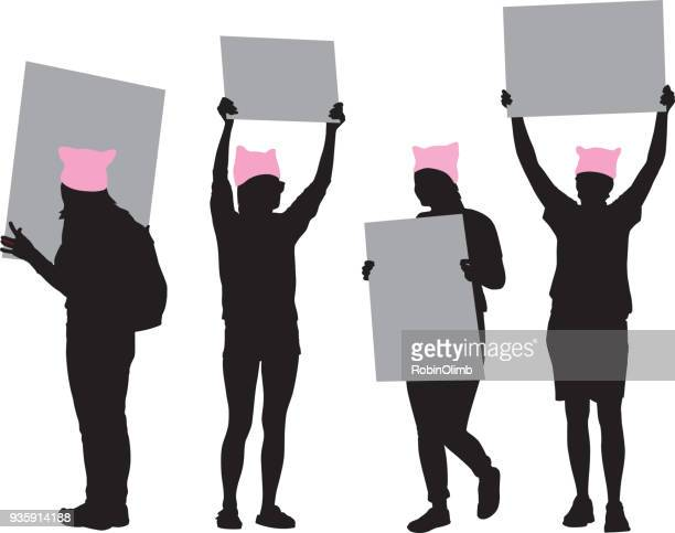 women wearing pink hats with protest signs - battle of the sexes concept stock illustrations