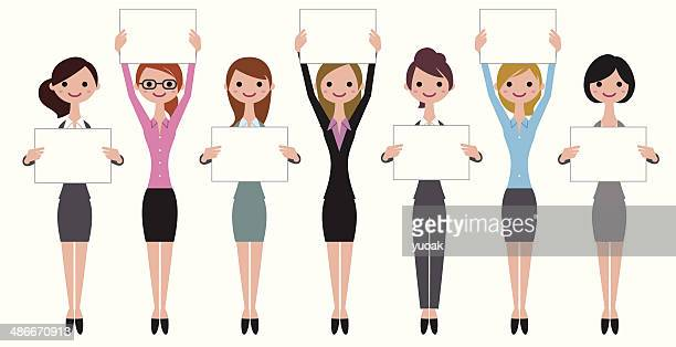 women with placards - holding stock illustrations, clip art, cartoons, & icons