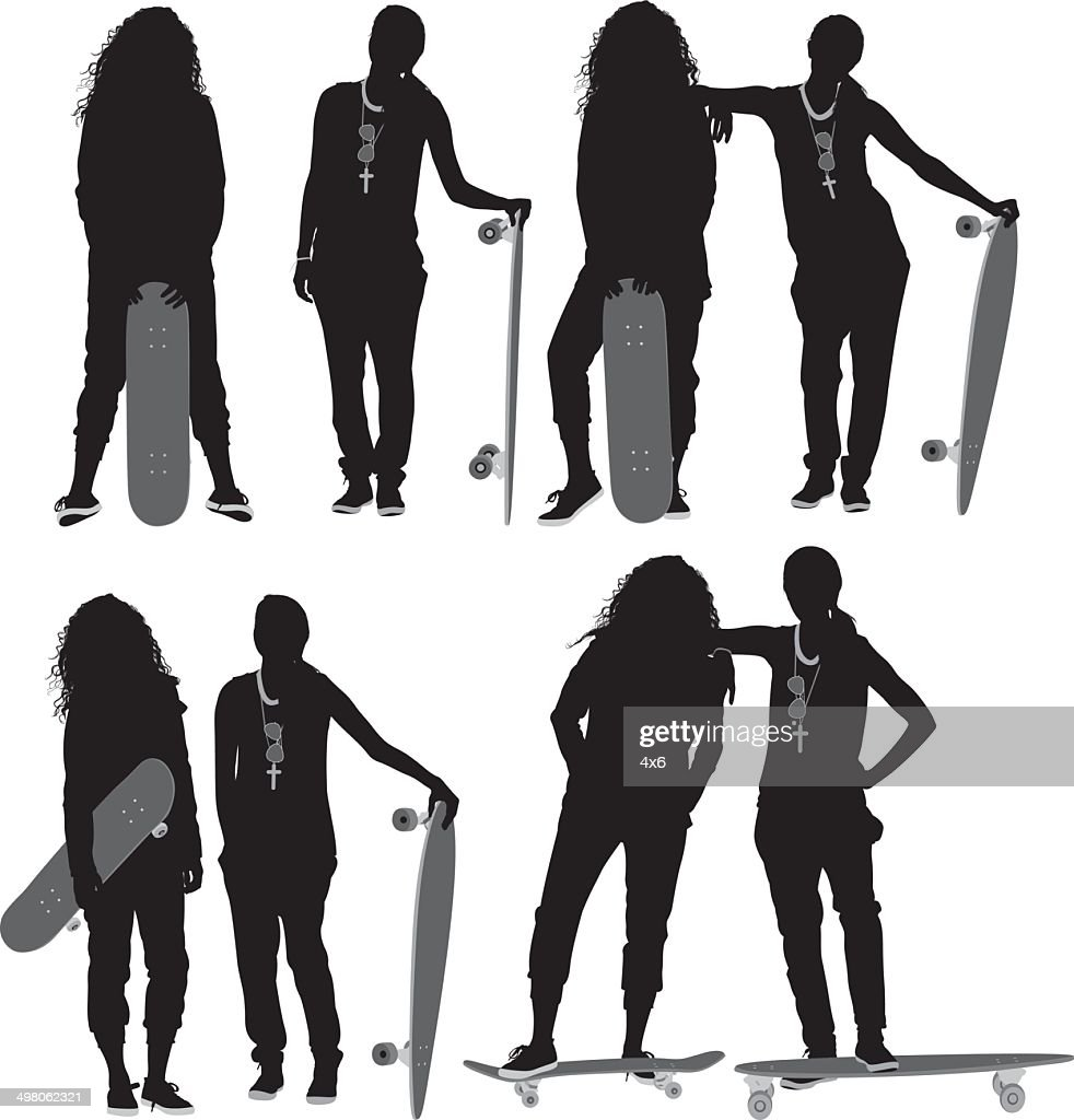 Women with skateboard