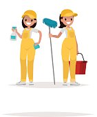 Women workers of cleaning company on a white background. Vector
