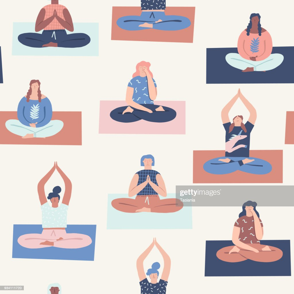 Women yoga class with interracial people doing breathing exercises seamless pattern in vector.