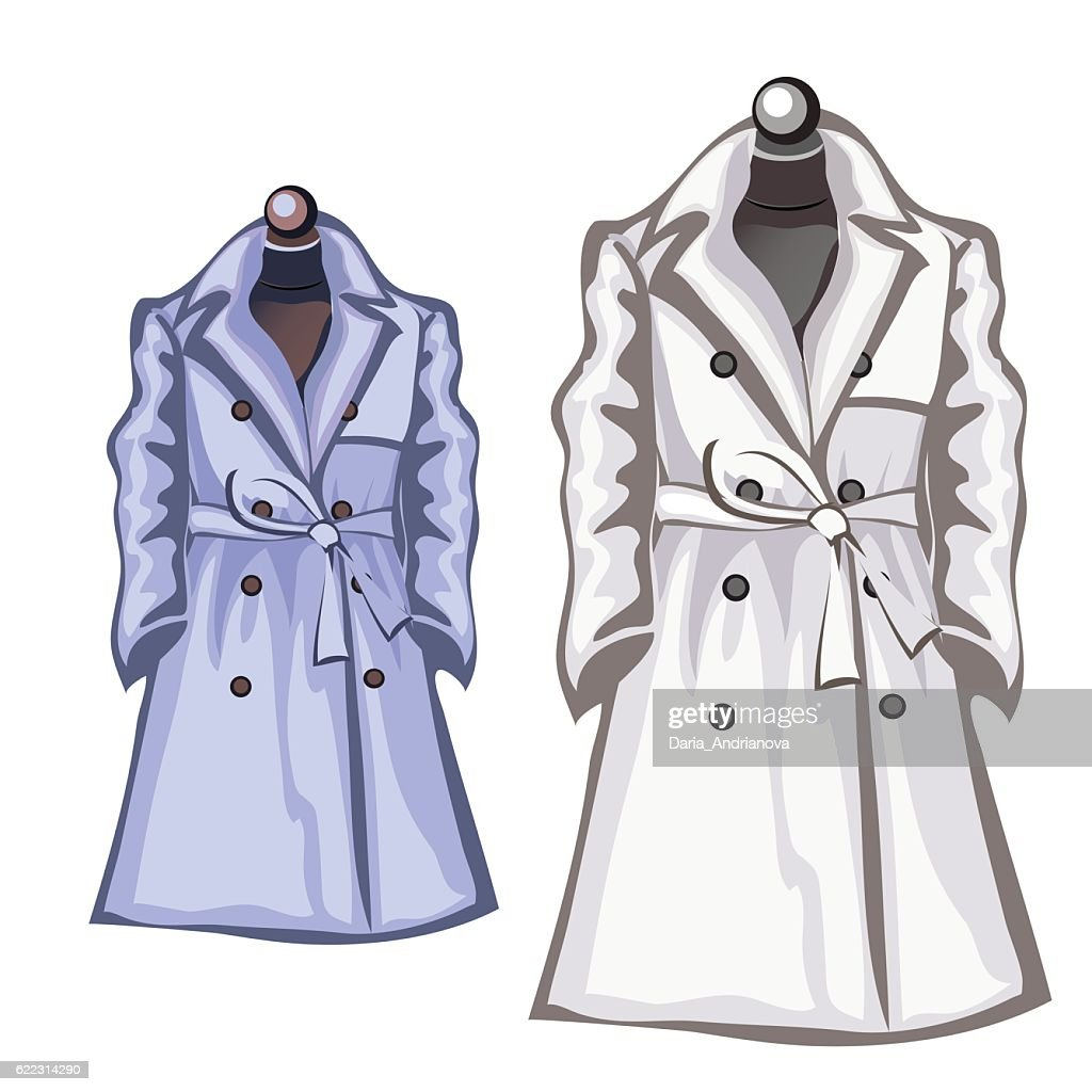 Womens autumn coats white and blue color
