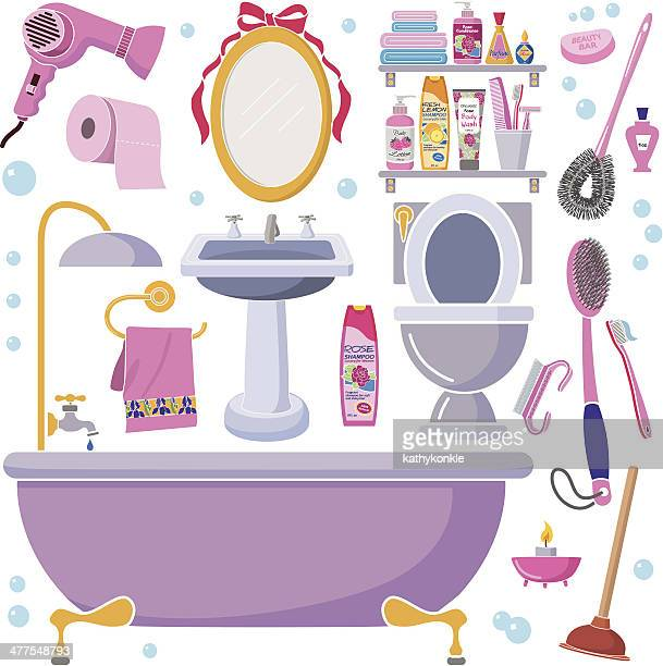 women's bathroom design elements - toilet brush stock illustrations, clip art, cartoons, & icons