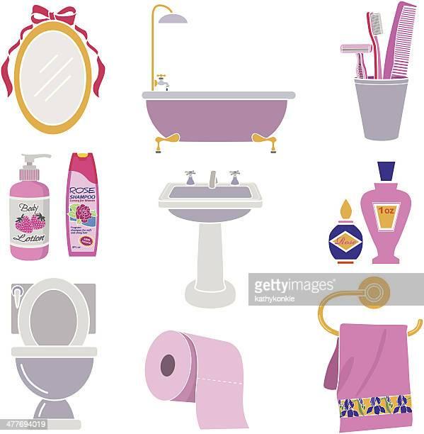 女性用のバスルームのアイコンセット