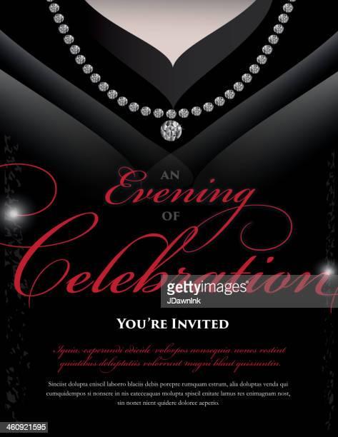 women's black dress elegant invitation design template - evening gown stock illustrations